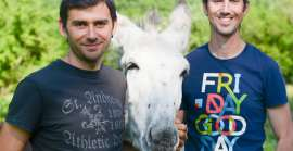 Christophe, Olivier and the donkeys of Vassivière